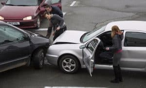 Two cars involved in a road traffic accident